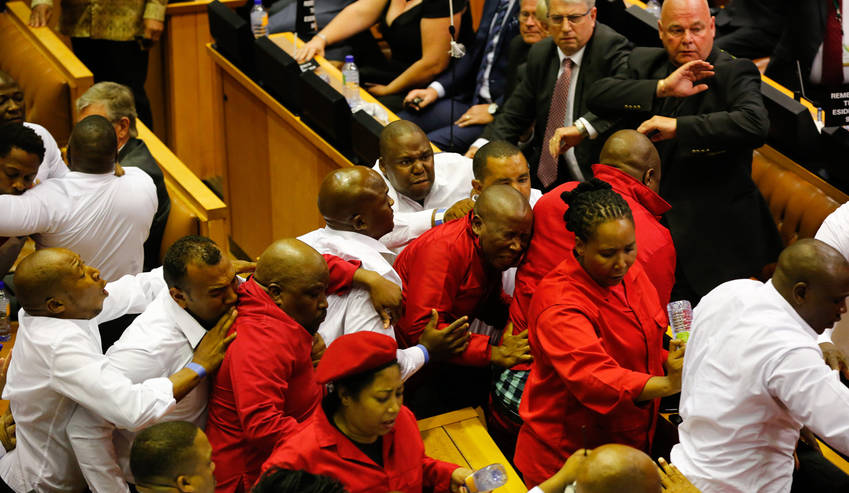 Fighting inside South Africa parliament